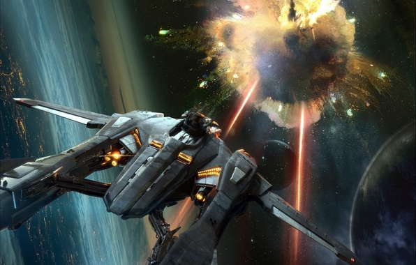 Photo wallpaper Star Citizen, planet, starship, fiction, space, the explosion