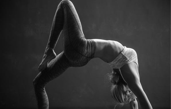 Photo Wallpaper Black And White Pose Yoga