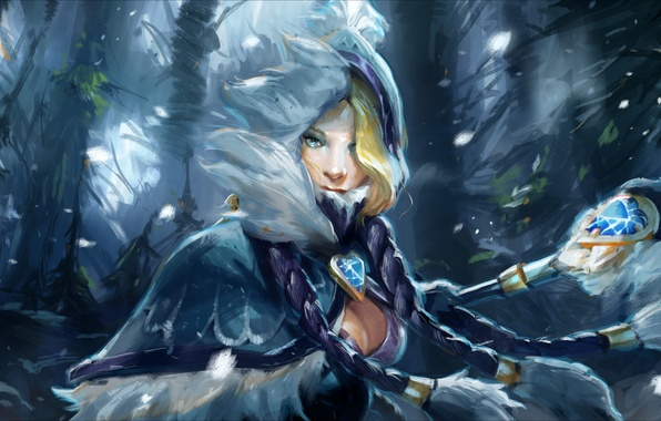 Picture chest, girl, art, hero, staff, DotA, Crystal Maiden, Defense of the Ancients, rulana, Rylai Crestfall, …