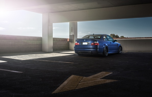 Picture blue, bmw, BMW, arrow, Parking, blue, back, e46
