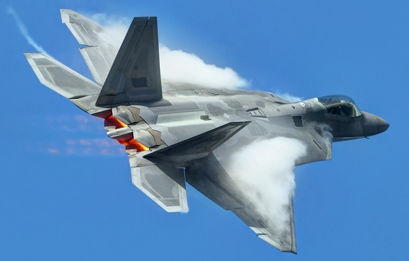 Picture the sky, weapons, the plane, F-22 Raptor