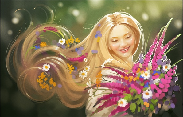 Picture summer, girl, flowers, smile, hair, art, blonde