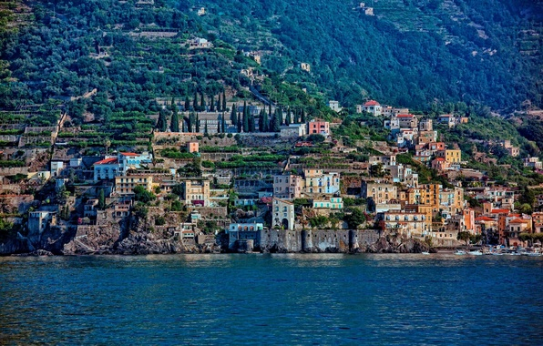 Picture building, Italy, panorama, Italy, Amalfi Coast, Gulf of Salerno, Amalfi coast, Gulf of Salerno