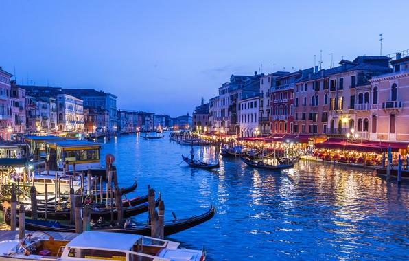 Picture the sky, lights, boat, home, the evening, Italy, Venice, channel, gondola