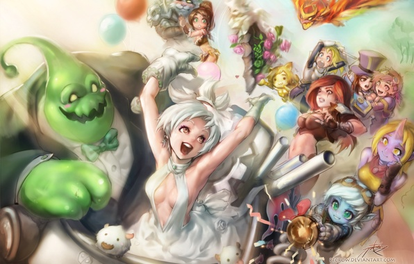 Picture flight, joy, girls, guys, art, characters, league of legends, phantom ix row