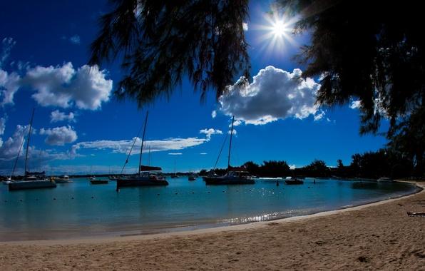 Picture beach, the ocean, yachts, boats, boats, Laguna, Mauritius, Mauritius