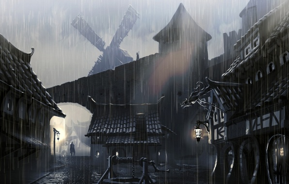 Photo wallpaper town houses, skyrim, artwork