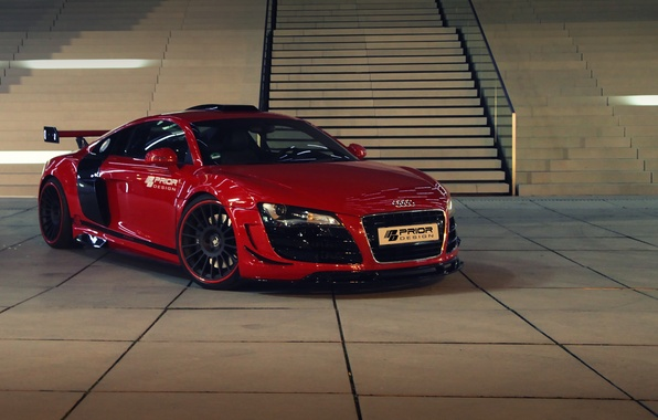 Picture red, Audi, ladder, stage, car, the front, Prior-Design, GT650