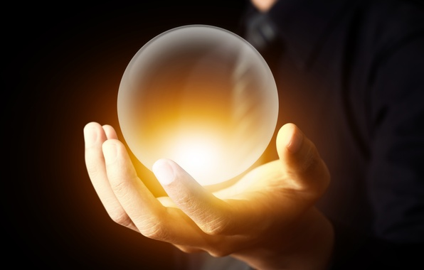 Picture light, hand, antigravity, magical crystal ball