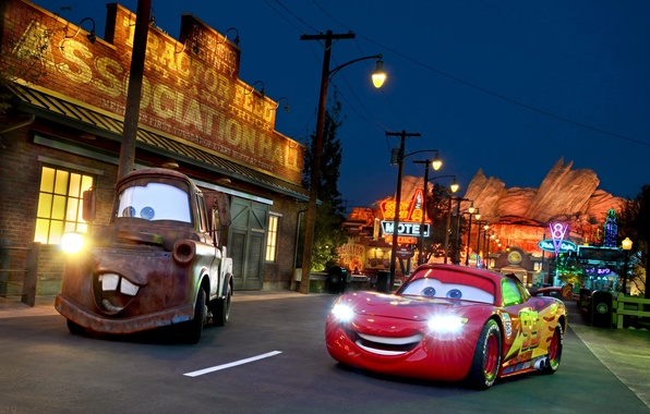 Picture night, the city, Park, photo, HDR, cars, lights, CA, USA, Disneyland, cars, Anaheim