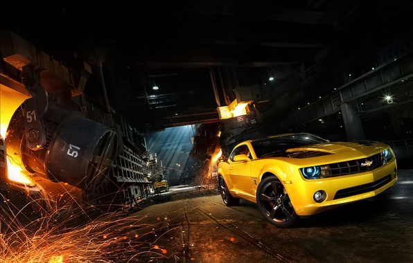 Picture Chevrolet, Muscle, Camaro, Car, Front, Yellow, Bumblebee, Sparks