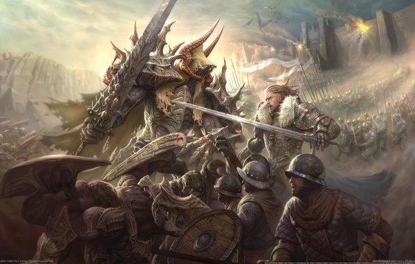 Picture war, sword, armor, battle, fantasy
