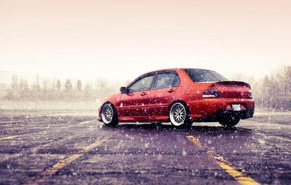Picture winter, snow, mitsubishi, lancer, evolution, evo, orange, Lancer, Evo, Mitsubishi
