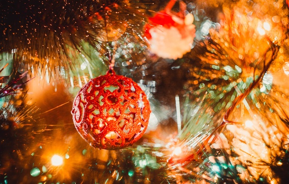 Picture yellow, red, holiday, balls, tree, New Year, Ball, golden, New Year, sheep, Happy, 2015, the …
