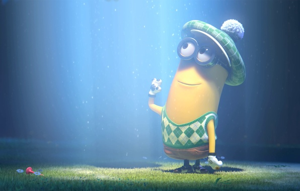 Picture light, grass, glasses, Despicable Me 2, lenses, minion, clothes to play golf
