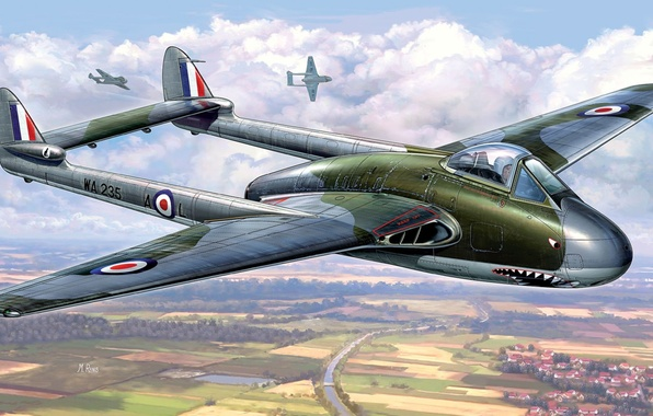 Picture aircraft, war, airplane, vampire, aviation, dogfight, hawker