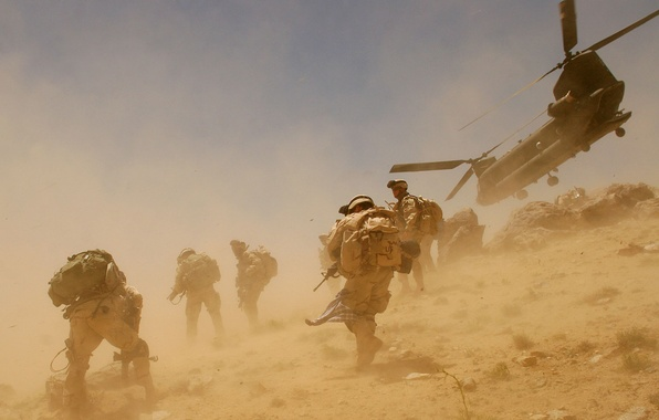 Picture the wind, dust, helicopter, soldiers, Afghanistan