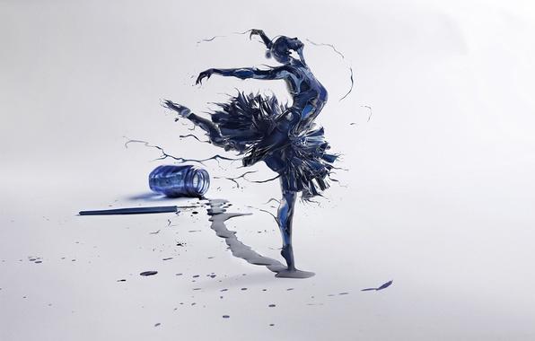 Picture girl, pen, art, ballerina, ink, bubble, Leonardo Of The