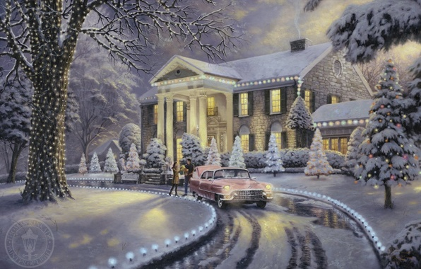 Picture frost, car, machine, snow, lights, lights, house, retro, Villa, tree, beautiful, gifts, painting, Christmas, garland, …