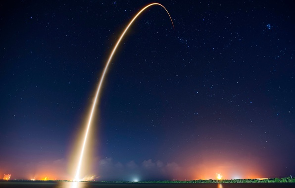 Picture light, night, trail, the evening, missiles, start
