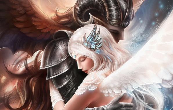 Picture girl, love, angel, the demon, art, hugs, guy