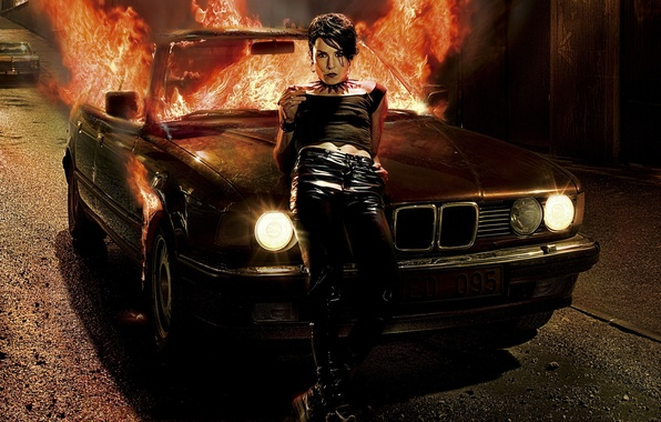 Picture machine, dragon, Girl, tattoo, fire.