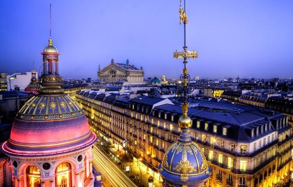 Picture light, the city, France, Paris, building, home, the evening, roof, panorama, Paris, Opera Garnier, architecture, …