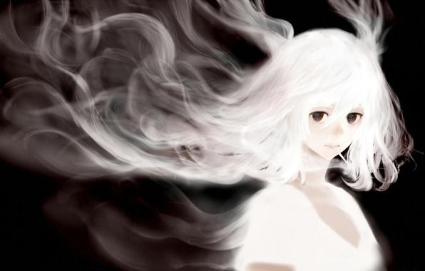 Picture girl, hair, smoke, anime, art, cigarette, bounin