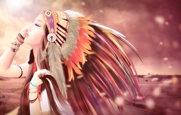 Picture portrait, feathers, profile, headdress