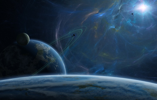 Photo wallpaper blue, planets, sci fi