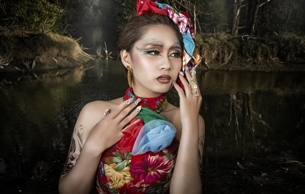 Picture water, style, model, hands, makeup, Asian, manicure