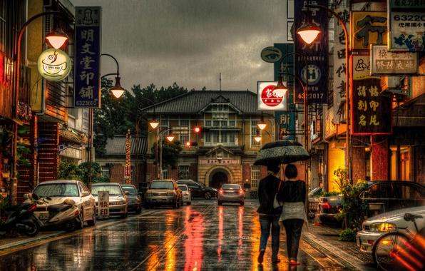 Picture bike, girls, motorcycles, street, umbrella, Taiwan, cars, stores, life, lamppost, restaurants, rainy, Yunlin