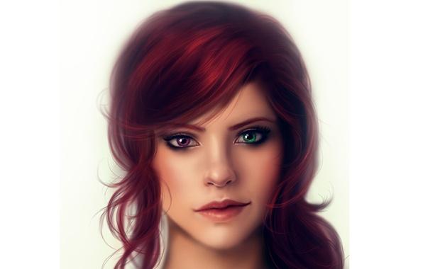 Picture portrait, Girl, different eyes, heterochromia