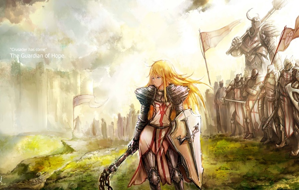 Picture look, girl, weapons, fiction, armor, hammer, art, shield, army, bully