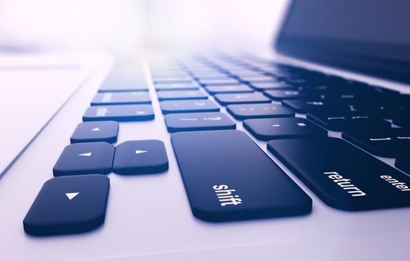Picture macro, blur, keyboard, laptop, display, screen, notebook, hi-tech, bokeh, laptop, wallpaper., touchpad, technology, touchpad
