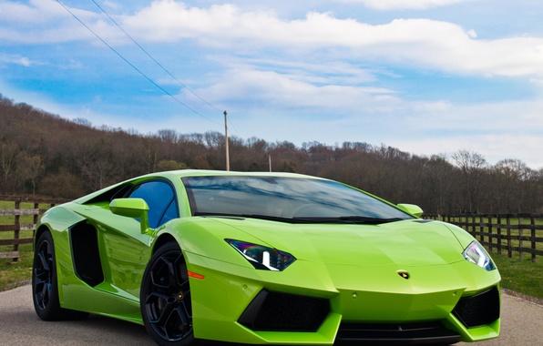 Picture road, auto, the sky, green, green, supercar, LP700-4, Lamborghini Aventador