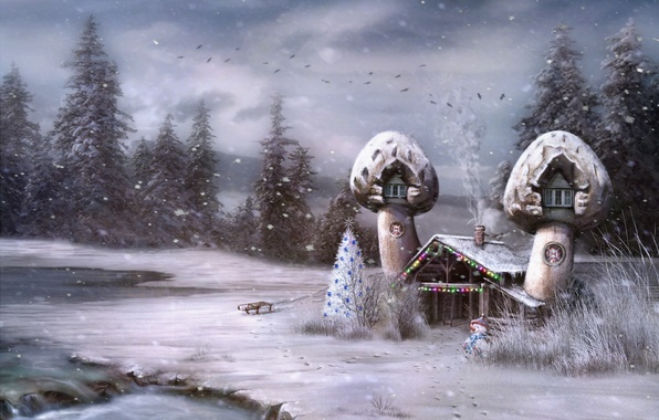 Picture tale, house, snowman, tree