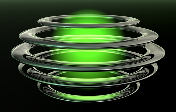Picture circles, ball, glow, black background, green