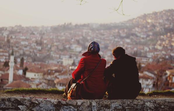 Picture sunset, couple, cityscape, enjoying, Sarajevo