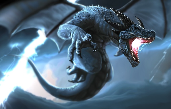 Picture the storm, storm, lightning, dragon, wings, tail, fangs, horns
