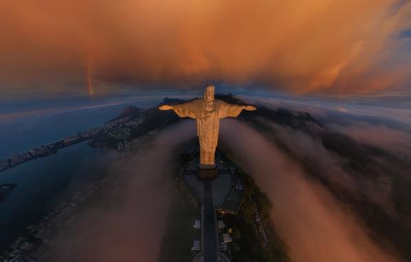 Picture clouds, the city, sunrise, rainbow, Rio de Janeiro, Cristo Redentor, Rio de Janeiro, The Statue …