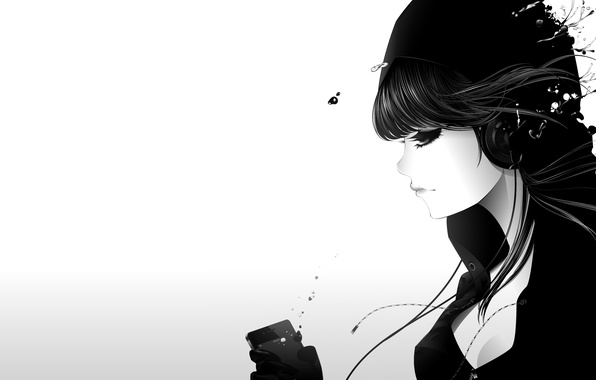 Picture girl, drops, music, ipod, headphones, art, white background, profile, qsixtynine