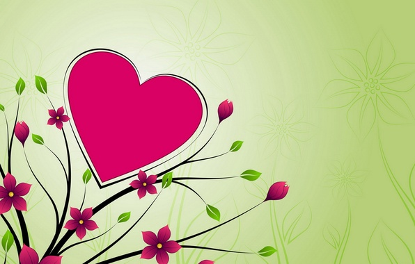 Picture flowers, background, heart, Wallpaper