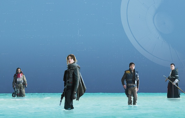 Picture water, weapons, fiction, poster, characters, costumes, Felicity Jones, Felicity Jones, Donnie Yen, Rogue One: A …