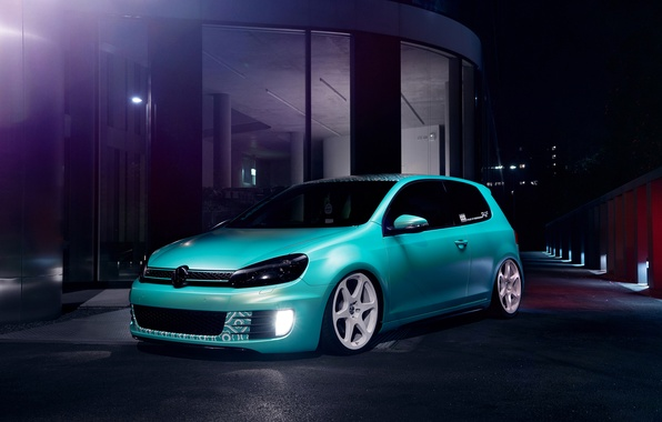 Picture Volkswagen, Blue, Golf, GTI, Stance, Low, Dapper
