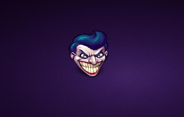 Picture purple, smile, batman, minimalism, Batman, head, Joker, comic, Joker, mad, intellectual