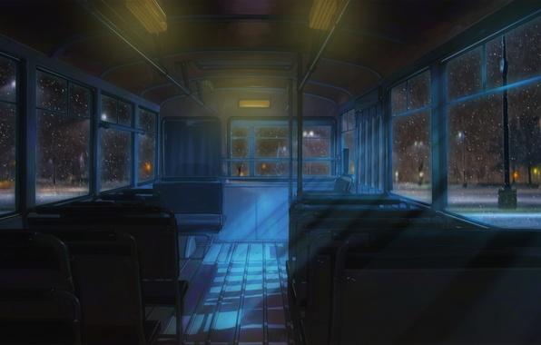Picture night, street, bus, everlasting summer, endless summer, iichan-eroge
