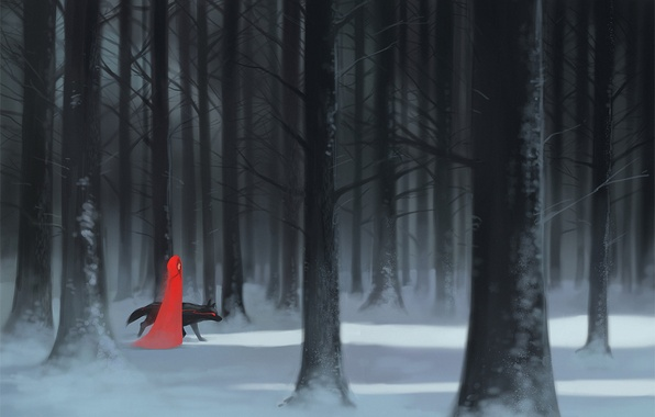 Picture forest, girl, snow, trees, wolf, art, cloak