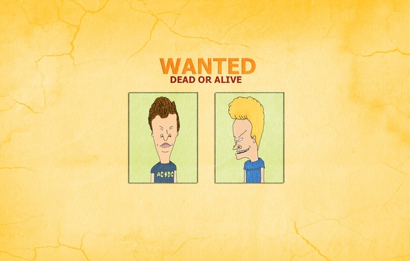 Picture the inscription, minimalism, the trick, Beavis and Butt-head, Beavis and Butthead, Wanted Dead Or Alive