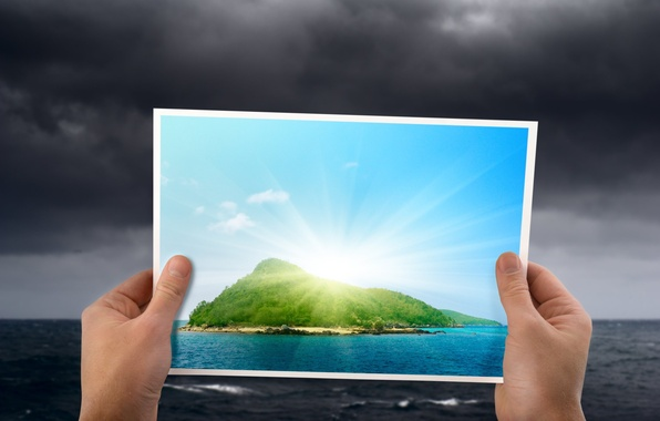 Picture the ocean, island, hands, horizon, Paradise, the